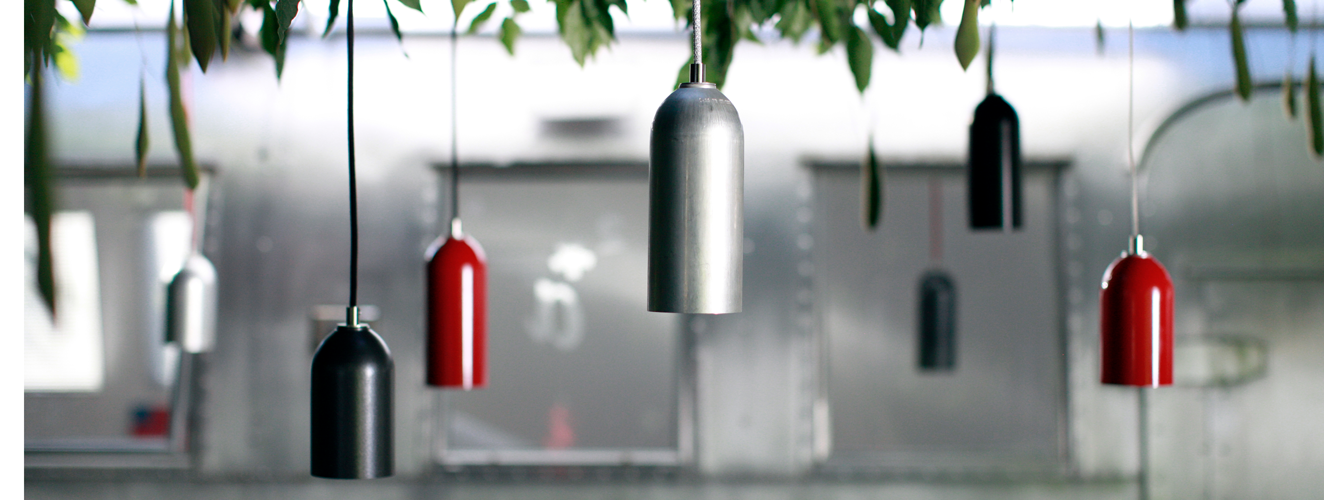 Lamps made from recycled fire extinguishers