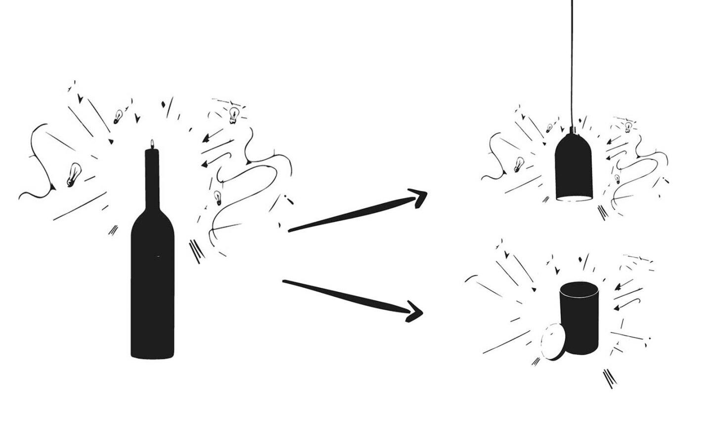 Feuerlöscher Kartuschen werden Lampen und Dosen und Kerzenhalter